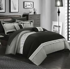 Luxurious Comforter Set Bedding 10 Piece King Size Bed in a Bag Bedspread Black