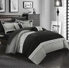 Luxurious Comforter Set Bedding 10 Piece Queen Size Bed in a Bag Bedspread Black