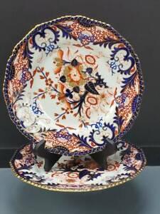 PAIR ANTIQUE ROYAL CROWN DERBY IMARI DINNER PLATES, C.1806-25