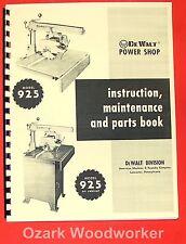 DEWALT 925 Radial Arm Saw Instructions & Part Manual 0259