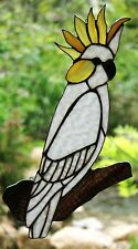 Huge SULPHUR CRESTED COCKATOO Stained Glass Leadlight Suncatcher HAND MADE GIFTS