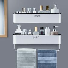 Bathroom Shelf Shower Caddy Organizer Wall Mount Shampoo Rack With Towel Bar New