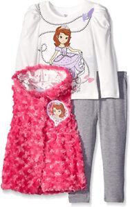 Sofia The First Girls Fluffy Fuchsia Vest 3pc Legging Set Size 2T 3T 4T