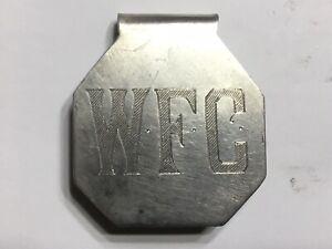 Vintage Silver Money Clip W Initials