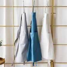 Sleeveless Women Bib Aprons Cotton Linen Solid Pinafore Home Florist Apron JD