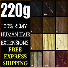 DELUXE THICK SET CLIP IN REMY HUMAN HAIR EXTENSIONS BLONDE BROWN BLACK
