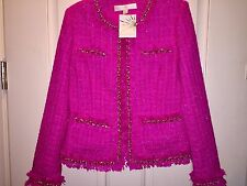 Boston Proper Iconic Parisian Tweed Jacket Fuchsia Size 10 New With Tag