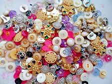 40pcs Button Golden Silver Rhinestone Faux Pearly Flower Dress Coat Sew Mixed