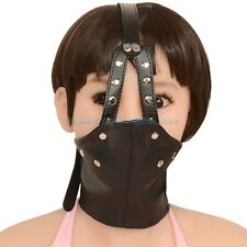 Lockable Slave Collar Half Facemask Harness + Breathable Mouth Ball Fetish Mask