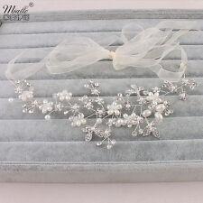 Vintage Wedding Bridal Vine Flower pearl Rhinestone Headband Hair Jewelry yarn