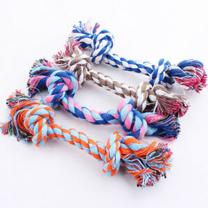 Cute Puppy Dog Cat Pet Toys Cotton Braided Bone Rope Teeth Clean Tug Chew Knot