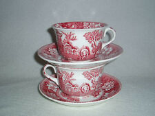 2 Pink Red Transferware Cups & Saucers Britannic Pottery Hanley Free U.S Ship #2