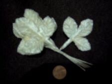 """Vintage Velvet Rose 3 Leaf 2"""" x 2 1/4"""" Stem Cream Color Made in Japan"""