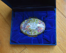 """New Halcyon Days Enamels Oval Trinket Pill Box """"With So Much Love� England"""