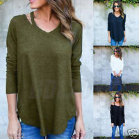 Fashion Women Long Sleeve Pullover T-Shirt Blouse Casual Loose Cotton Tops