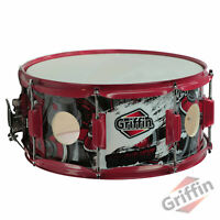 """GRIFFIN Snare Drum Birch Wood Shell 14""""x6.5 inch Large Vents Metal Marching Head"""