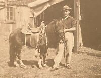 Real Photo Postcard RPPC ~ Man With Pony & Western Saddle ~ Animal ~ Horse