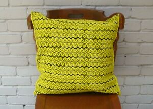 Mexican Handwoven Yellow Cushion Cover Sham Woolen Cotton Mayan Mexican Chiapas