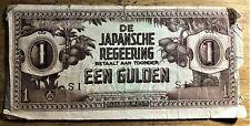"""1942 WWII DUTCH EAST INDIES JAPAN INVASION MONEY 1 GULDEN """"S"""" ERROR NOTE CIRC"""