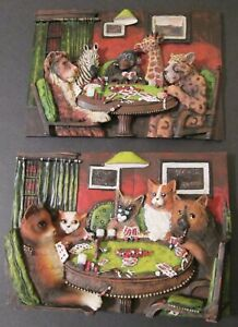 "Two 3D Plaques ANIMALS PLAYING POKER & DOGS AND CATS PLAYING POKER ~ 9 1/2"" x 7"""