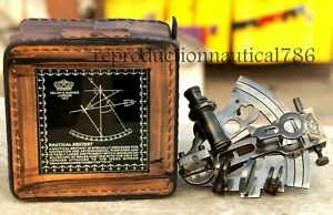 Nautical Survey Navy Sextant W/ Leather Box Vintage Solid Brass Maritime Sextant