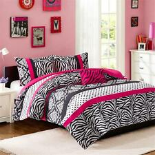 MODERN CHIC GIRLS PINK TEAL BLUE BLACK ZEBRA STRIPE DOTS COMFORTER SET & PILLOW
