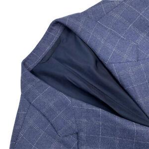 "Custom 46 S Loro Piana "" Eternity "" 100 % Cashmere 3/2 Roll Slate Blue Plaid RZ"