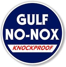 "(GULF-2) 12"" GULF NO-NOX GASOLINE GAS PUMP OIL TANK SIGN DECAL"