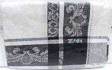 Edler Tischläufer 50 x 150 cm schwarz weiss Leinen French