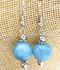 Fashion 12mm Jewelry Blue Aquamarine Round Gems Beads Dangle Silver Hook Earring