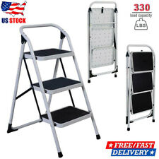 Portable 3 Step Ladder Folding Non Slip Safety Tread Heavy Duty Industrial Home