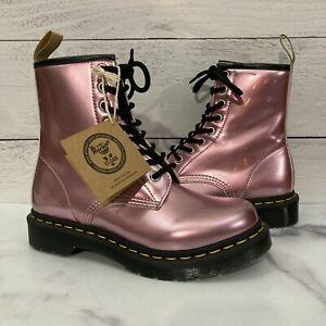 Dr. Doc Martens 1460 Vegan Pink Metallic Combat Boots Women's Size 5 (EUR 36)