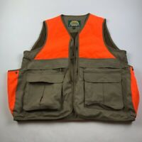 Cabelas Mens Hunting Fishing Vest Orange Brown Waist Length Pockets V Neck L