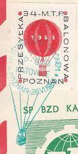 POLAND 1965.VI.27 Ballon KATOWICE, Mail Cat.40d Start POZNAN - SLAWNO landing