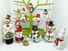 12 50s-70s VINTAGE flocked snowman baubles wood glass Christmas tree decorations