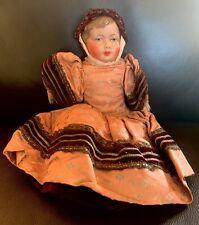 Antique/Vintage Doll Celluloid Hand Painted Face- Brocade & Velvet Dress
