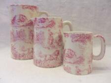 Pink toile de jouy set of 3 jugs by Heron Cross Pottery
