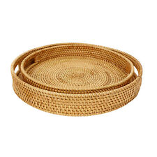 More details for round rattan bread basket woven tea tray with handles home dinner serving gifts