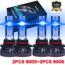Combo 9005 9006 Blue Ice 8000k Cob Led Headlight Kit Bulbs High Low Beam Us