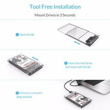 ORICO Transparent 2.5 Inch USB 3.0 External Hard Drive Enclosure Case SATA HDD