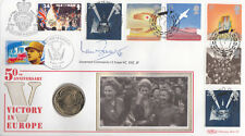 Benham coin 1995 50th Anniv Victory in Europe FDC Signed Ian E Fraser VC