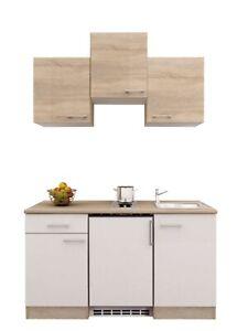 Singleblock 150 cm Weiß/ Sonoma Eiche mit Kochmulde, Kühlschrank ,Spüle