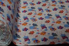 """12 Yard Blue Airplane Baby Print Quilt Fabric Craft Apparel Upholstery 45""""W #113"""