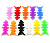 10PCS Silicon FishBone Headphone Cord Wire Cable Organizer Holder Wrap  bhVGHWC