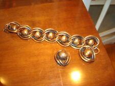 Vintage Rebajes Copper Modernistic Bracelet Clip Earrings Demi Parure EVC