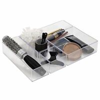 6pc Acrylic Drawer Organiser Compartments Clear Make Up Brushes Draw Jewellery