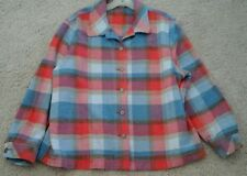 Woman Blue/Red Plaid Long Sleeve Textured Woven Shirt Jacket  -    Plus Size 1X