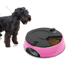 New 6-Meal Automatic Pet Feeder Auto Dog Cat Food Bowl Dispenser Pink