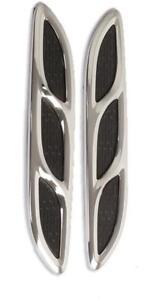 CHROME/BLACK Power Vents Bonnet Side Wings (V623) fits AIXAM