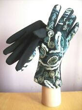 Freesize Black Grey + Cream Embroidered + Black Stretch Jersey Palm Gloves NEW